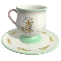 "4"" Potbelly Footed Teacup Peter Rabbit Pastel Pink Green & 6.5"" Floral Saucer LN"