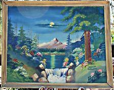 Vintage O G Lewis Gospel Artist 1962 Oil Outsider Art Landscape Oil on Board