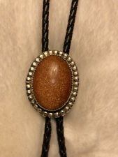 Black Leather Navajo Cowboy Western Mens Bolo Tie Gold Stone Sterling Silver