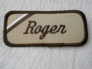 ROGER USED EMBROIDERED VINTAGE SEW ON NAME PATCH TAGS ASSORTED COLORS AVAILABLE