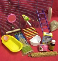 Bird Toys Starter Kit Pack Swing Bath Ladder Mirror Bell Budgie Landing Platform