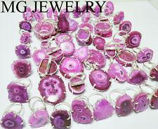 500 PCs Pink Color Solar Quartz Gemstone 925 Silver Plated Prong Rings Pendants