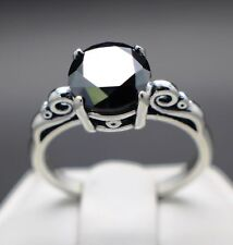 White Gold Over Engagement Wedding Ring 1Ct Real Natural Black Diamond Ring 10kt