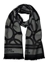 Versace Collection Men's Geometric Block Circle Pattern Wool Scarf Black Grey
