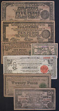 7 diff. Philippines WW2 1940's guerrilla paper money circ.