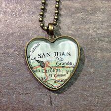 PONCE ANASCO SAN JUAN PUERTO RICO AMERICA Map Pendant bronze necklace  ATLAS