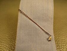 Vintage Mid Century Modern Golf Club and Golf Ball Yellow Gold Plated Tie Bar