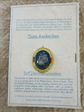 Vintage Commemorative Pin Back 300 Years Of Germans In America w Original Holder