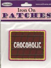 "Embroidered Iron On Patch Motif    For the Chocolate Lover    ""Chocoholic"""