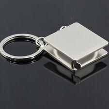Retractable Square Silver Mini Keychain Easy Tape Measure Key Ring Ruler E7CX