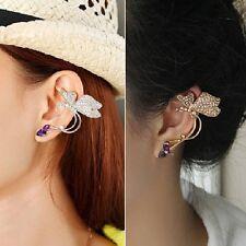 Butterfly Stud Earrings Blogger Earring Gothic Ear Clip Rhinestone Purple