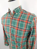J Crew Men's Button Down Long Sleeve Plaid Dress Shirt sz Small Green Red Cotton