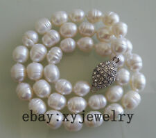 charm 10-11mm white Baroque rice fresh water pearl necklace 18 inch magnet clasp