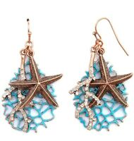Starfish Crystal Coral Earrings Blue Sand