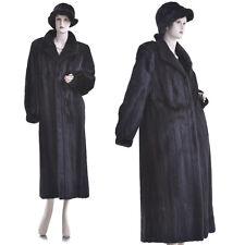 ON SALE! Mint! Fashionable Black Mahogany Real Female Mink Fur 50 in. F/L Coat
