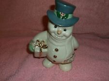 """Lenox Snowman holding gift blue top hat with gold trim 6"""" Tall"""