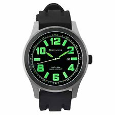 Mens Black Sport Watch Silicone Waterproof Oversized Big Dial Green Reloj Hombre