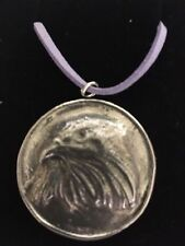 """Eagle On Disc TG69 Made In Solid Fine English Pewter On 18"""" Purple Cord Necklace"""