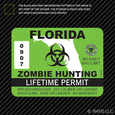 Florida Zombie Hunting Permit Sticker Die Cut Decal Usa Outbreak Response