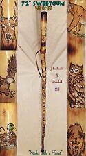 """72"""" Sweetgum~WILDLIFE~Walking Staff HIking Stick Handmade & Finished 🇺🇸"""