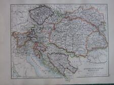 1897 Viktorianisch Landkarte ~ Austro Hungarian Monarchy Bosnien Tyrol Bohème