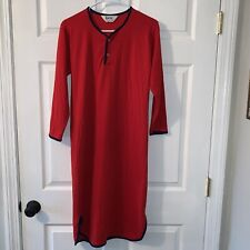 Women's SMALL Vintage DUOFOLD INC Mohawk, NY Red Two Layer Fabric Nightshirt EXC
