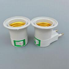 Lamp ON/OFF Bulb Base Holder E27 Light Socket EU Plug Adapter Converter White