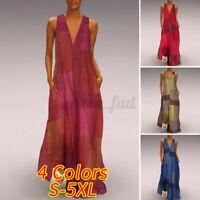 UK Womens Strappy Loose Beach Dresses Printed Kaftan Ladies Long Dress Sundress