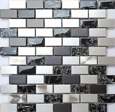 Black & Silver Steel & Black Crackle Glass Brick Mosaic Tile Sheet 0137