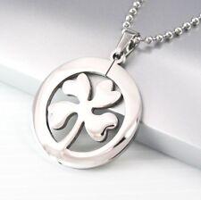 "Silver Irish Celtic Shamrock Four Leaf Clover Pendant 24"" 60cm Necklace Chain"
