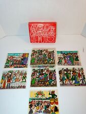German Wood Block Puzzle Art Cubes Carnival Cologne Vtg 1950s Complete w/Cheats