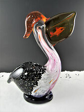 "Art Glass Pelican With Fish Figurine Paperweight 7"" Tall (Le)"
