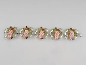 VTG Wide Chunky Bracelet Metal Rhodium Plated Leaf Rhinestone Plated Plastic Gps