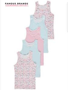 Ex Store Girls Kids 5 Pack Floral Stripe Vest Tops Underwear Assorted Colours
