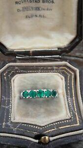1.40Ct Round Cut Green Emerald Eternity Wedding Band Ring 14K White Gold Finish