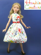 "FITS 16"" ELLOWYNE WILDE TONNER JACKSON POLLOCK STYLE DOLL DRESS HANKIE COUTURE"