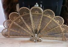More details for vintage celbrite peacock fan brass fire screen guard in box art deco style