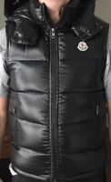 NEW MONCLER Men's LACET Lacquered Hooded Down Vest in Black, Size 3