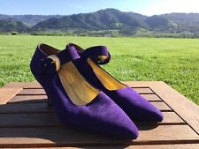 Via Spiga Purple Women's Shoes Size 9 M Heels MSRP $195 Pumps Buckle Italy Made