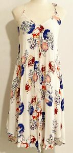 Impression Handkerchief Halter Floral Design Relaxed Light Weight Dress Sz Small