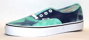 Vans Unisex Authentic Solid Canvas Skateboard Sneakers, (Tie Dye) Navy/Turquoise