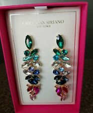 Christian Siriano NY MultiColor Crystal Party Statement Drop Earrings New in box