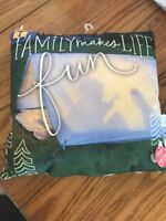 """Family Makes Life Fun"" Hallmark Glow Pillow 9 x 9 Inches NWT Great Gift"