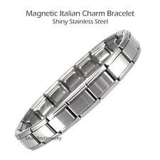 Italian Charm Starter Bracelet 9mm MAGNETIC Stainless Steel 18 Links