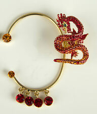 BUTLER & WILSON Red & Gold Dragon Ear Cuffs Brand New In Box Gold Tone