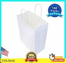 100 pcs paper bags white kraft bag with handles gift Retail Merchandise shopping