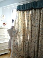 DESIGNERS GUILD CURTAINS vintage 100% LINEN shabby COTTAGE chic FLORALS *HUGE*
