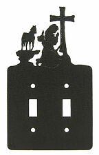Praying Cowgirl Double Switch Plate Black