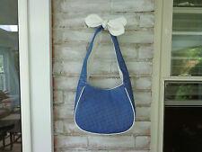 Bodhi Nantucket Hobo/Shoulder Bag Blue Leather Polka Dots & Bow Detail Ret. $268