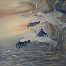 Acrylmalerei Christiane Schwarz; SCHNEEGÄNSE ca.65x65cm, Gans, Vögel, Tierbild